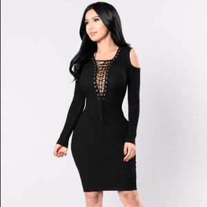 Black Lace Up Dress NWT Fashion Nova
